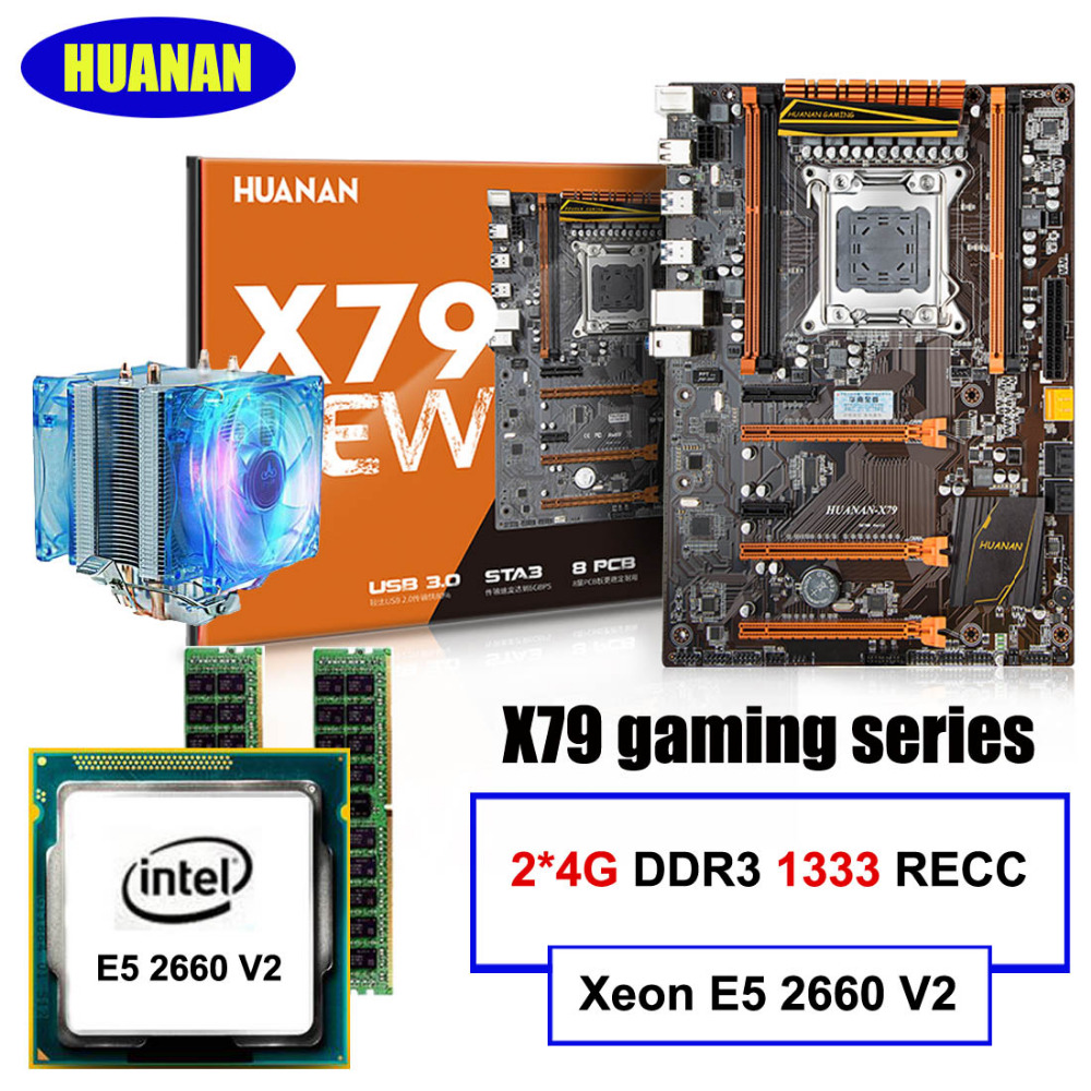 HUANAN X79 deluxe motherboard CPU RAM set X79 LGA2011 motherboard Intel Xeon E5 2660 V2 RAM 8G(2*4G) DDR3 RECC lga 2011 x79 series motherboard soldering cpu socket r with tin balls