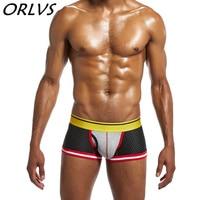 3 개/몫 ORLVS 브랜드 섹시한 남성 속옷 메쉬 남성 팬티 패션 스타일의 속옷 남성 복서 트렁크 팬티