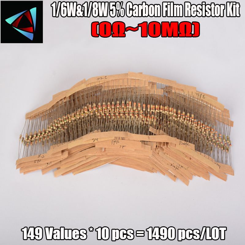Free Shipping  1/6W&1/8W 150valuesx10pcs=1500pcs 0R~10M 5% Carbon Film Resistor Assorted Kit