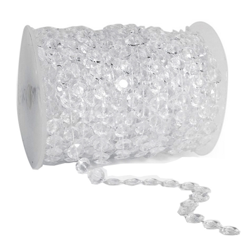 Clear 30M 1 Roll Octagonal Acrylic Crystal Beads Crystal Curtain DIY Suncatcher Door Beads Party Wedding Decoration centerpieces