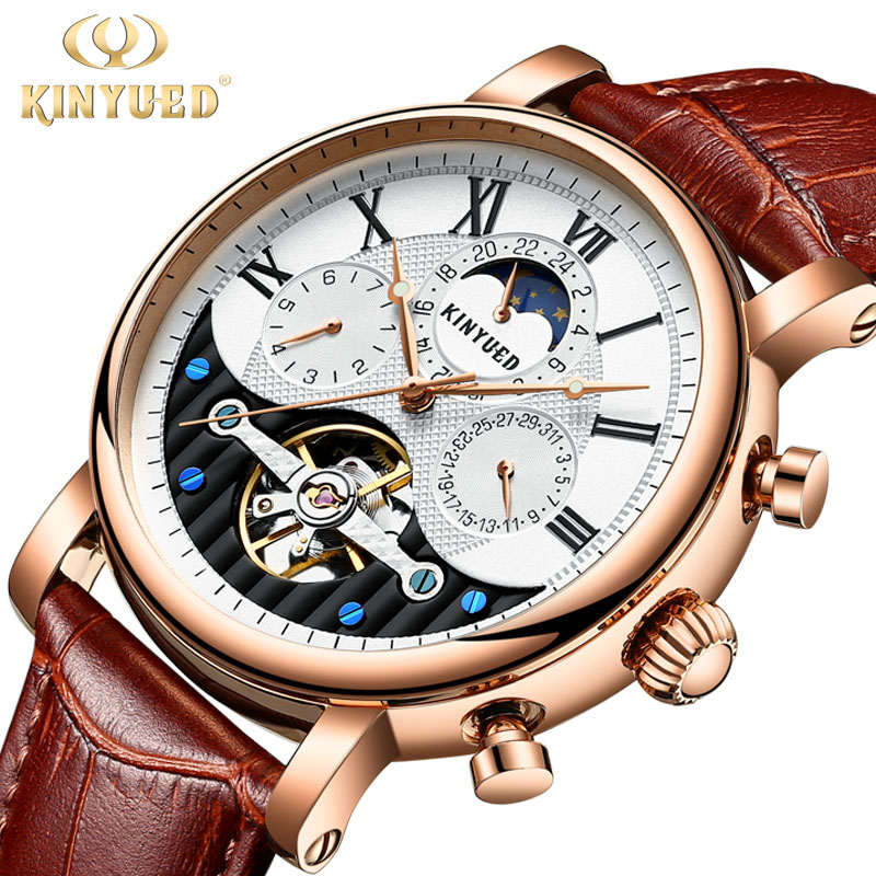 KINYUED Automatic Watch Men Luxury Rose Gold Genuine Leather Mechanical Skeleton Watches Sports Tourbillon Male Wirstwatch ailang brand men automatic self wind watches leather skeleton tourbillon mechanical clock male rose gold shell watch new