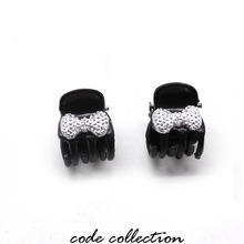 HOT 2pcs/set Cute Mini Silver Bow Hair Clip Claws For Women Girl Kids Bling Crystal Hairpins Jewelry Sccessories Gift