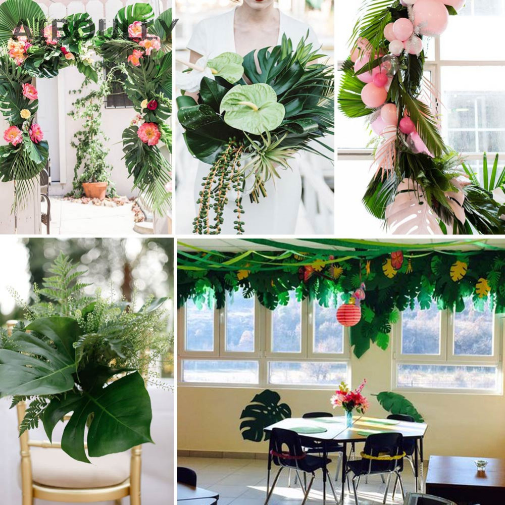 12pcs Artificial Leaf Tropical Palm Leaves for Hawaiian Luau party Decorations Home garden decoration 35x29cm&20x18cm