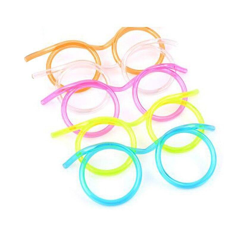 10pcs Funny Eye Glasses Soft Drinking Straw Novelty Toy Christmas Party Birthday Gift Child Adult DIY Straws Toys Bar Supplies