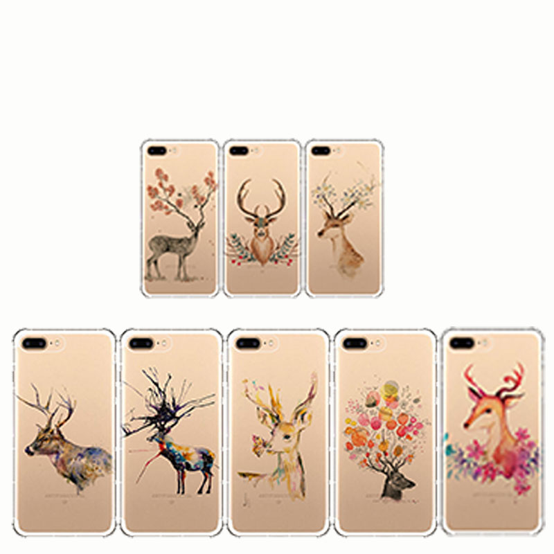 Beautiful Animal Deer Transparent Cover Soft Phone Case for iPhone 6Plus 6SPlus 7Plus 8 Plus X
