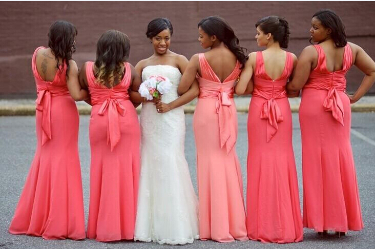 Custom Made Plus Size Coral Bridesmaid Dresses Elegant Mermaid Bow