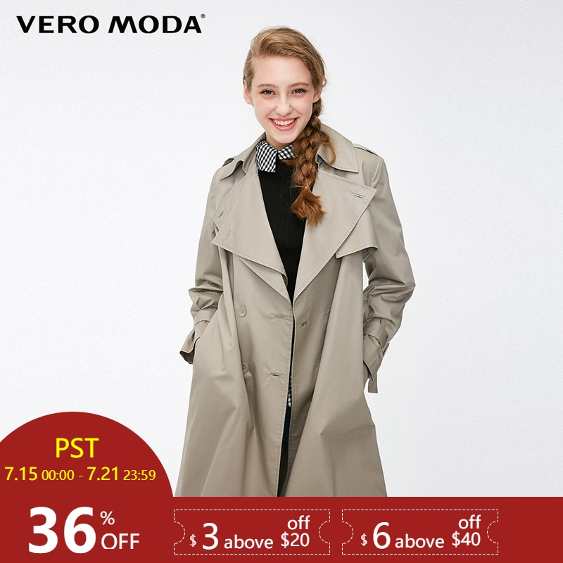 Vero Moda Women's Straight Fit Two tiered Lapel Trench Coat | 318321536