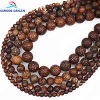 CAMDOE DANLEN New Natural Stone Beads Fossils Stone 6 8 10 12MM Loose Round Diy Charm Beads For Jewelry Making Accessories