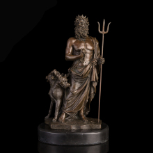 ATLIE BRONZE Ancient Greek Pluto Bronzes Statue Western Mythology Hades with Cerberus Sculptures Wealth God Escultura de Bronze