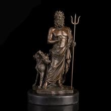 ATLIE BRONZE Ancient Greek Pluto Bronzes Statue Western Mythology Hades with Cerberus Sculptures Wealth God Escultura de Bronze