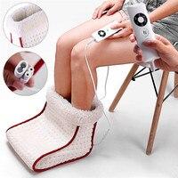 Electric Heated Foot Warmer Massage Cosy Unisex Feet Heated Foot Warmer Massager Big Slipper Foot Heat Warm Massage Shoes