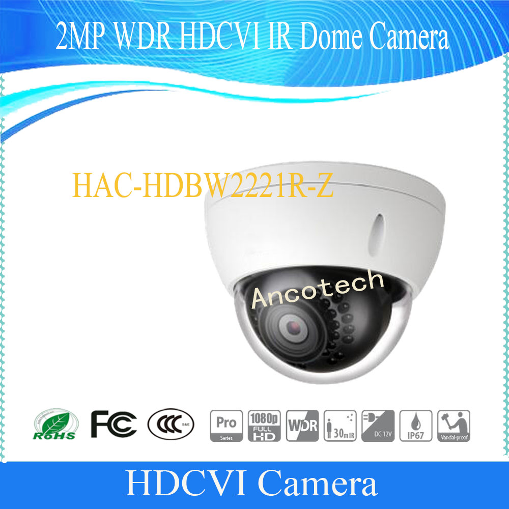 Free Shipping DAHUA CCTV Security Outdoor Camera 2MP WDR HDCVI IR Dome Camera IP67 IK10 Without Logo HAC-HDBW2221R-Z dahua hdcvi dome camera 1mp 720p mini ir hdcvi camera security ip camera cctv 30m ir distance ip67 without logo hac hdw1100r vf