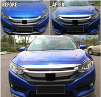 FIT FOR HONDA CIVIC 2016 2017 CHROME FRONT HOOD BONNET GRILL LIP MOLDING COVER TRIM BAR GARNISH PROTECTOR STAINLESS STEEL