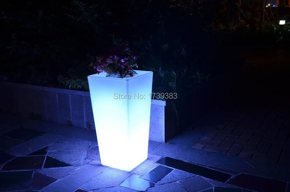 Waterproof Outdoor H78cm 16colors Rumba square flower Y-Pot Light Bulb wireless,LED glow Ice Bucket,Led flower Plant Vase LIGHT