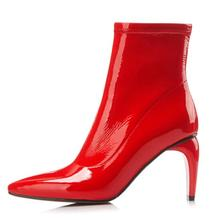 Arden Furtado 2018 spring winter red ankle boots shiny leather zipper  pointed toe high strange heels d079355fda99