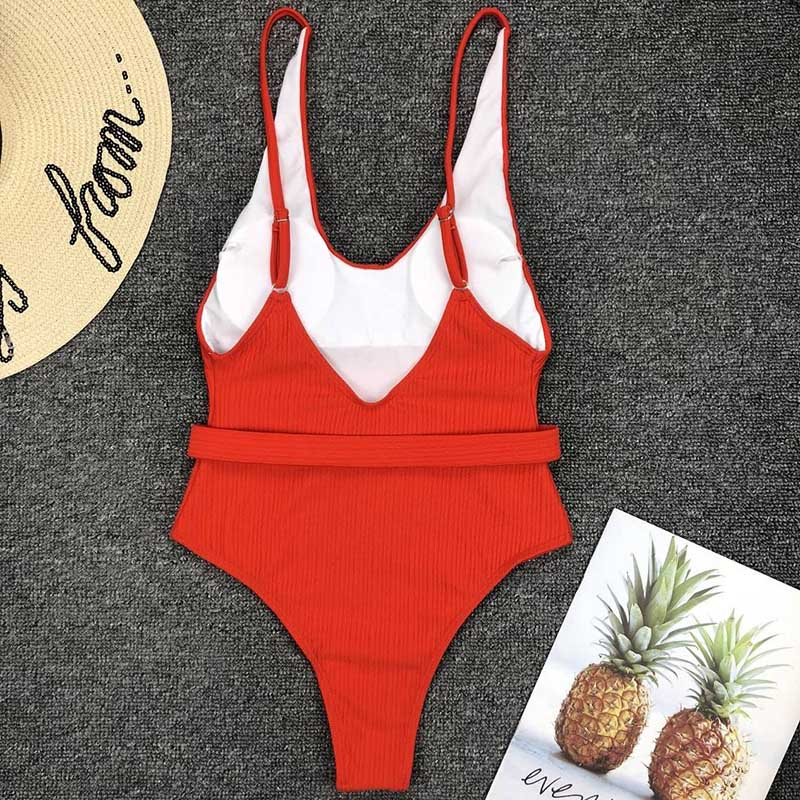 Одноцветный купальный костюм с бретельками, модель 2020 года, сексуальный купальник для женщин, с поясом, с высокой посадкой, пляжная одежда, u-... 28