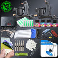 Tattoo Beginner Tattoo Kits 2 pcs Coil Tattoo Machine Guns Power Supply Foot Pedal 20 Needles Grips Tips