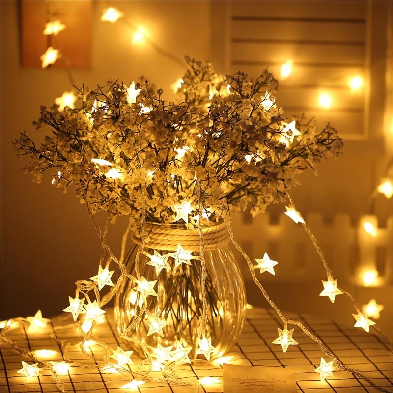 6 m 40LED Año Nuevo Hada guirnalda Led estrella cadena luces para árbol de Navidad Natal boda hogar Decoración interior con pilas