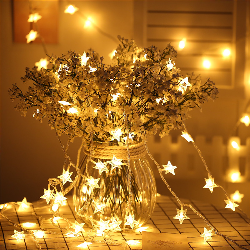 6M 40LED New Year Fairy Garland Led Star String Lights For Christmas Tree Natal Wedding Home