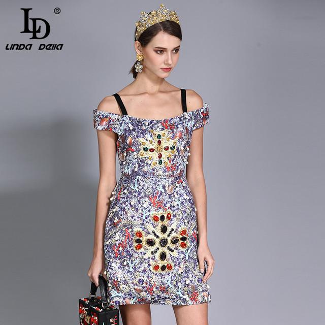 Women's Luxury Crystal Diamonds Beading Printed Vintage Dress