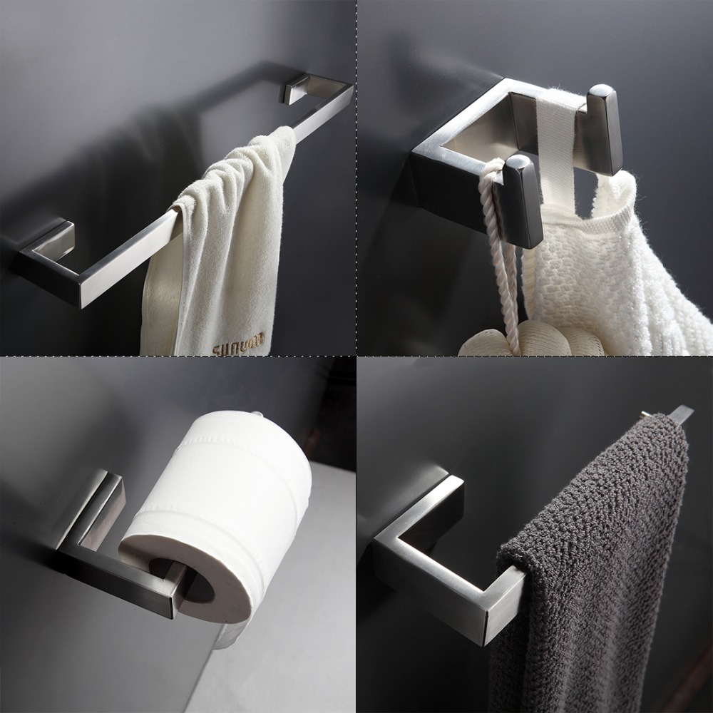 Modern bathroom hardware sets - Bath Hardware Sets 304 Stainless Steel Bathroom Accessories Towel Bar Paper Holder Hook