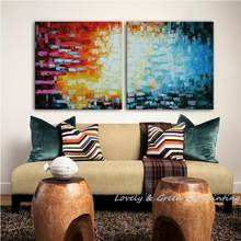 2Pcs/Set 100% Handmade Unframed Good Quality Colorful Decorative Painting Modern Abstract Oil Painting Canvas Art For Wall Decor(China)