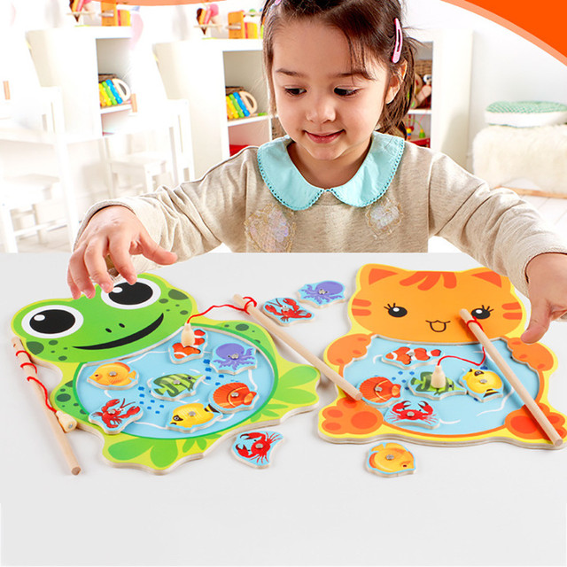 6762572717afe Drop ship Baby Kid educational Wooden Toys Magnetic Fishing Game Jigsaw  Puzzle magnetic puzzle wooden toys for kids Jouet Enfant