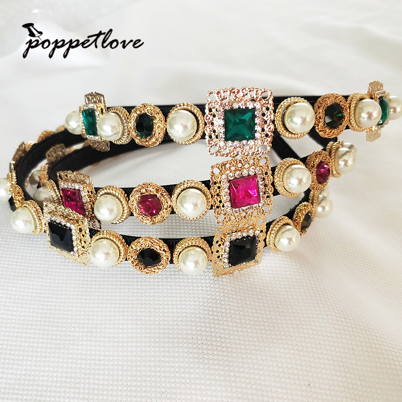 New Hairband Baroque Luxury Crystal Headband Brand Headdress Fashion Pearl Hair Jewelry for Women