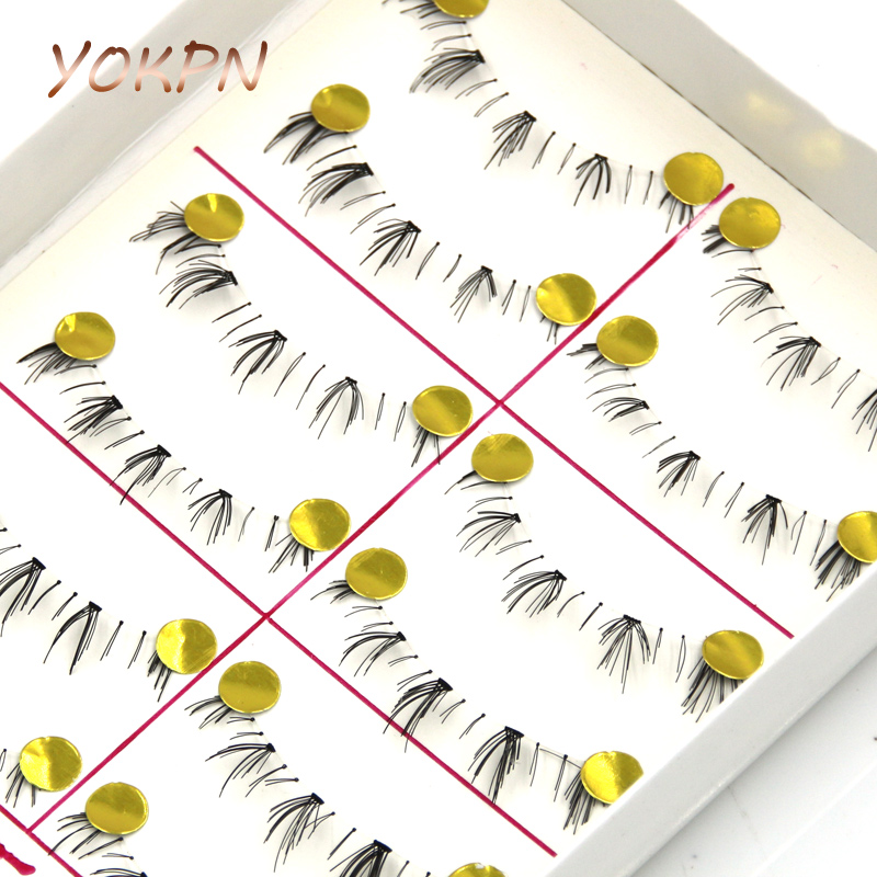 YOKPN Handmade Lower Lashes Natural Bare Makeup Transparent Stems Paragraph Lower Lashes Natural Make-up Under Cross Eyelashes