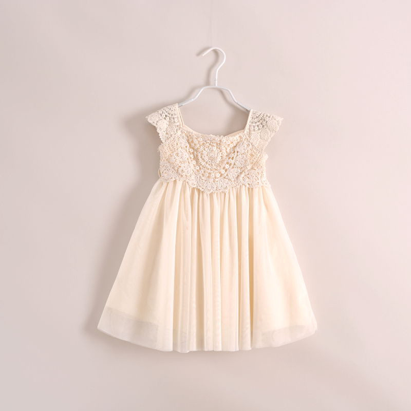 2017 new summer children's clothing girls openwork lace disk flowers dress solid lace dress dress size 90-140