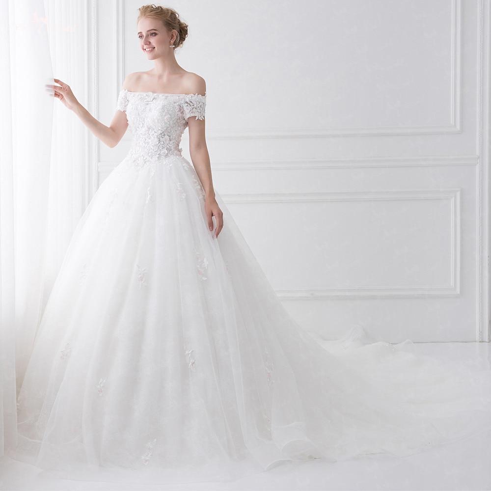 LZ189 Short Sleeve Flower Wedding Dress Sequin Wedding Dress Off The ...