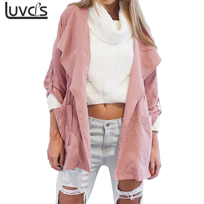 Luvcls Women Coat Autumn New Womens Fashion Warm Hooded Long Pink Coat Jacket Windbreaker Parka Outwear