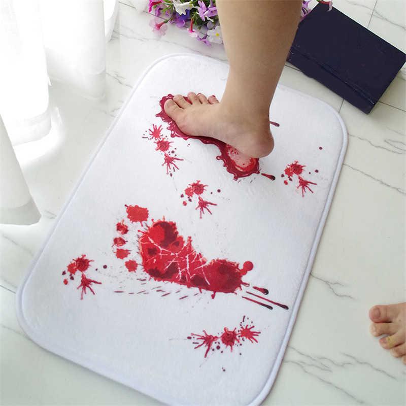 1pc Creative Blood Bath Mat Bathroom Water Slippery Toilet Carpet Floor Mat Terrorist Bloody Footprint Rug Kitchen Mat 40*60cm 4