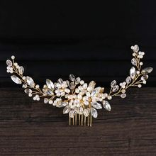 Golden Metal Crystal Pearl Hair Combs Jewellery Tiaras de Noiva Headpiece Bridal Hair Jewelry Women Wedding Hair Accessories VL(China)