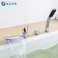 Ванна Смесители для душа Chrome польский Ванная комната suana 4 шт. Наборы для ухода за кожей Душ, переключатель, две ручки, шланг для душа, водопад