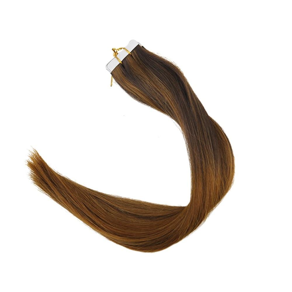 Полный блеск 7,5 г 3 шт. волос образец Ombre лента в волосах Цвет #2/5/5 бронд реми человеческий волос ленту на волосы