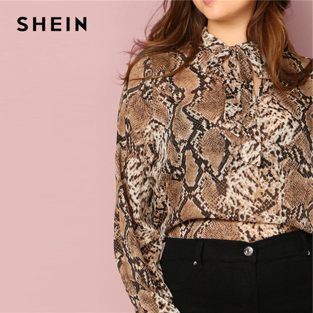 SHEIN Plus Size Tie Neck Snake Skin Print Women Blouses Office Lady Long Sleeve Elegant Spring Autumn Workwear Tops And Blouses 3
