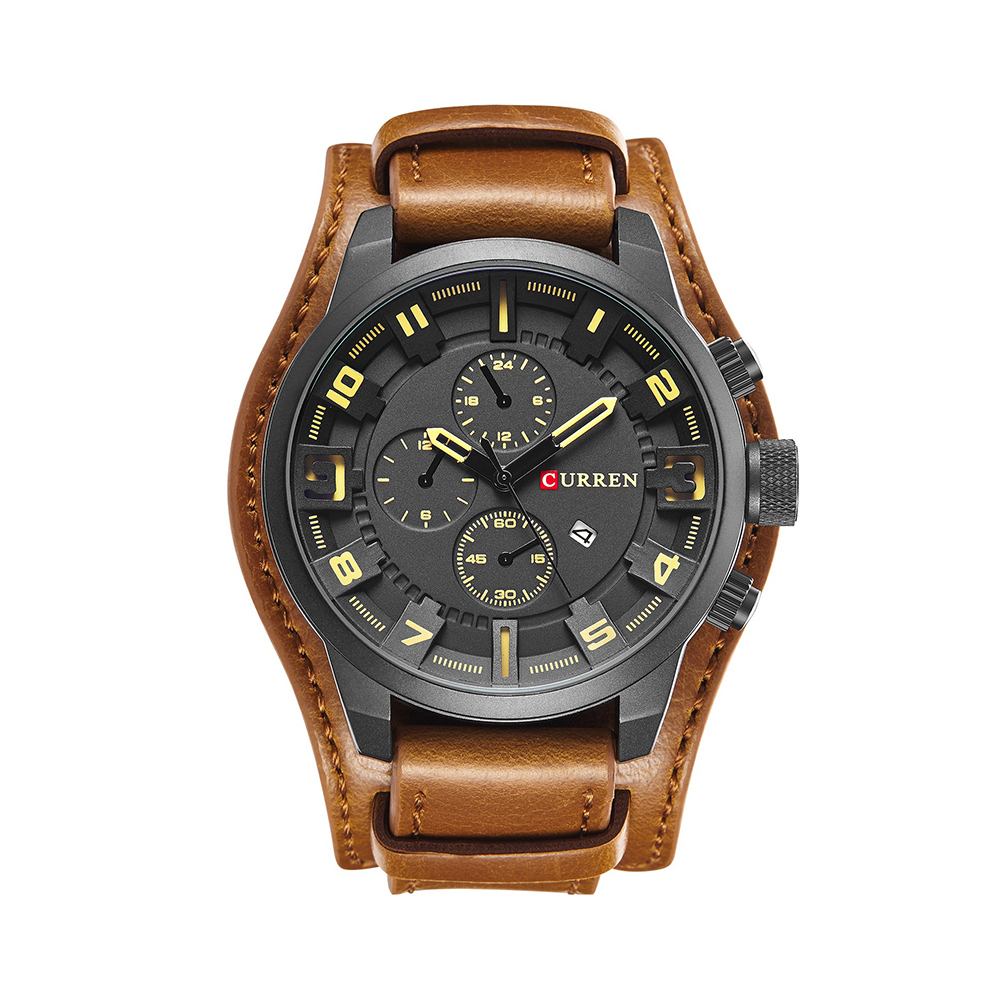 Fashion Business Men Quartz Movement Wrist Watch Faux Leather Analog Display Dial Calendar in Quartz Watches from Watches