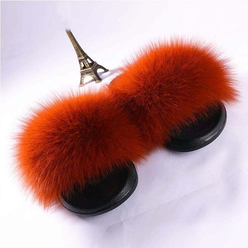 AoXunLong Hot Fox Fur Slides Kvinna Fox Fur Slipper Fox Fur Slippers - Damskor - Foto 3