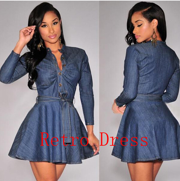 2016 New Fashion Blue Spring and autumn Women Slim Fit Denim Jean Dress Plus Size Bowknot Belt Long Sleeve Dresses Free shipping