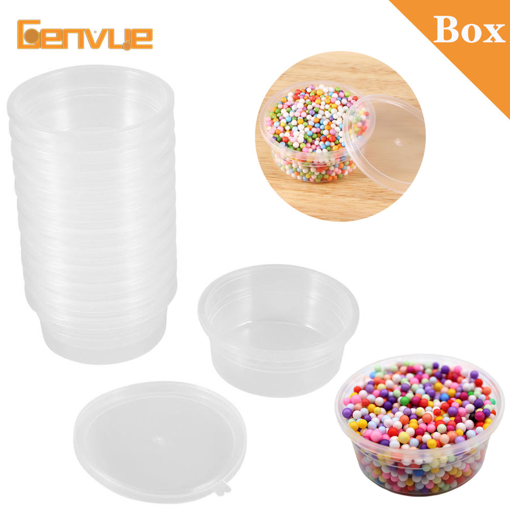 2019 New Round Box Slime Fluffy Foam Ball DIY Clay Printing Craft Storage Containers Organizer With Lids For 20g Slime Supplies