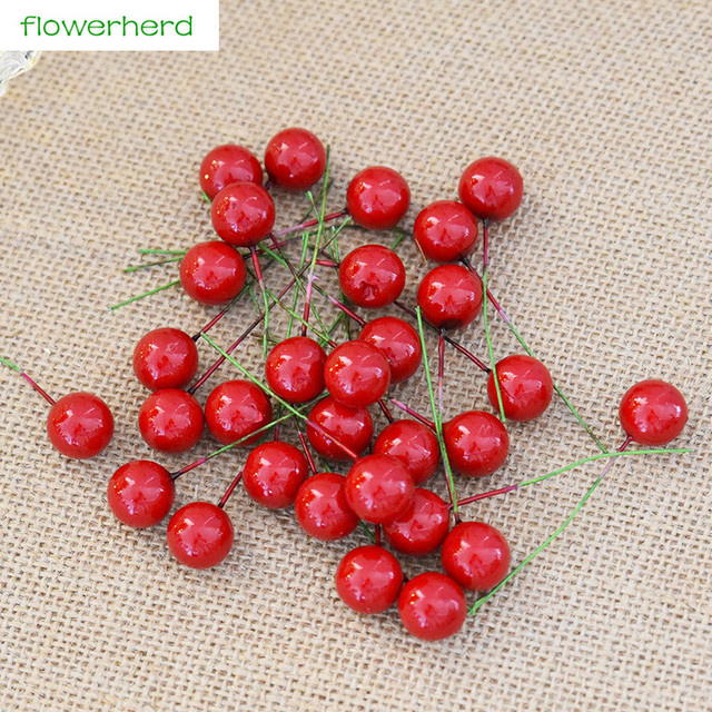 30pcs simulation red fruit cherry fruit berries christmas tree christmas flower window ornament diy decoration accessories - Christmas Flower Decorations
