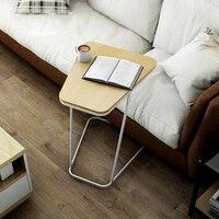 현대 간단한 작은 테이블 크리 에이 티브 코너 사이드 데스크 이동식 침대 사이드 노트북 테이블 편리한 소파 컴퓨터 책상 unadjustable