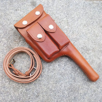 WW2 WWII MAUSER GUN LEATHER HOLSTER BROOMHANDLE WITH STRAP CUOIO CN/103113