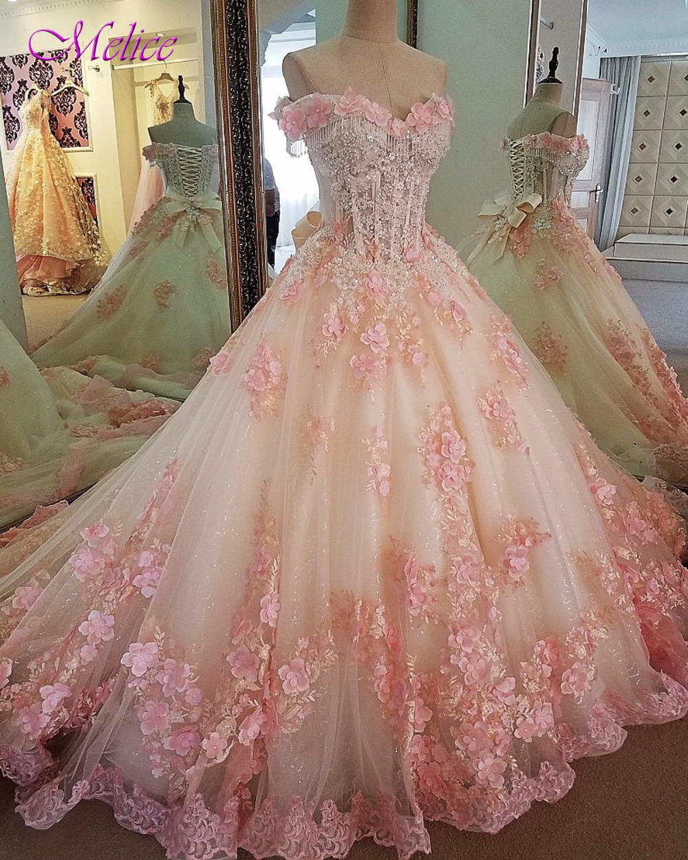 Fmogl Elegant Sweetheart Neck Beaded Sequined Ball Gown Quinceanera Dress 2019 Appliques Debutante Dress For Vestido