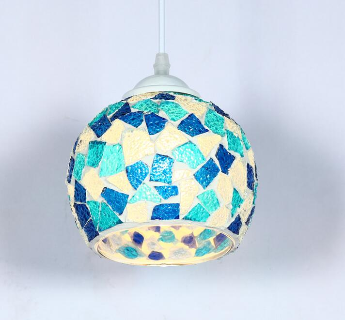 Tiffany color pendant lights single head Mediterranean small creative Cafe entrance corridors restaurant lamp pendant lamps ZA tiffany restaurant in front of the hotel cafe bar small aisle entrance hall creative pendant light mediterranean df66