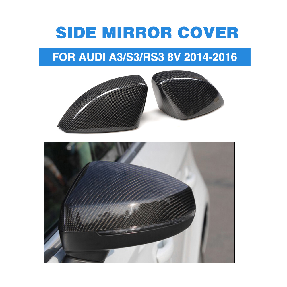 Carbon Fibre Replacement Style Rear View Mirror Covers for Audi A3 / S3 / RS3 8V 2014-2016 without Side Assist Side Mirror Caps