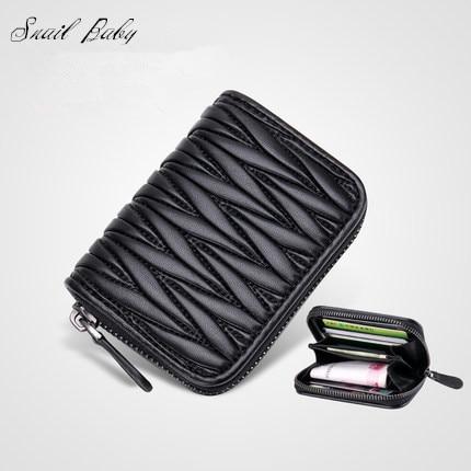 2017 new genuine Leather wallet sheepskin bag Ladies fold Purse mini wallet bag