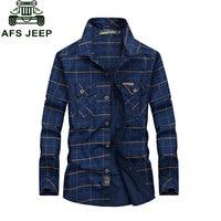 AFS JEEP 2016 S 5XL Plaid NEW Autumn Fashion Men S Cotton Dress Plus Size Shirts