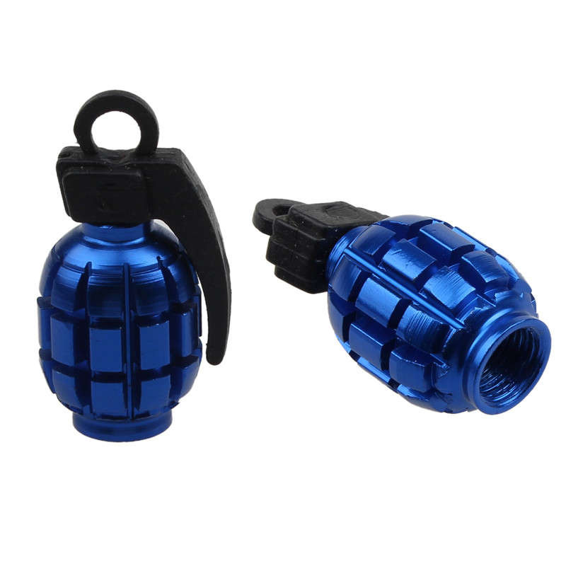 Bicycle Accessories For a Bike 2PCS Colorful Grenade Alloy Valve Caps Dust Covers Bike Bicycle MTB BMX Car Tyre cool grenade shaped bicycle bike tyre tire valve dust cap cover gold 2 piece pack